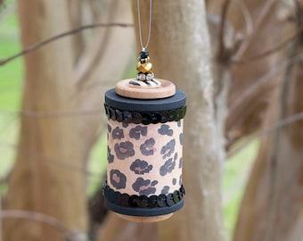 Cheetah Print Beaded Wooden Spool Ornament