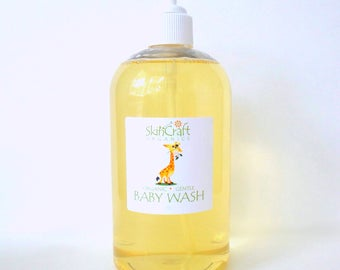 Natural Baby Wash - Natural Baby Shampoo - Lavender or Unscented Baby Wash - Gentle Baby Wash - Organic Baby Soap - 18 oz