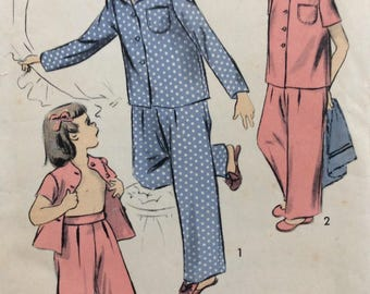 Advance 4183 girls pajamas size 6 vintage 1940's sewing pattern