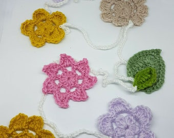 Handmade Crochet flowers and leaves Bunting