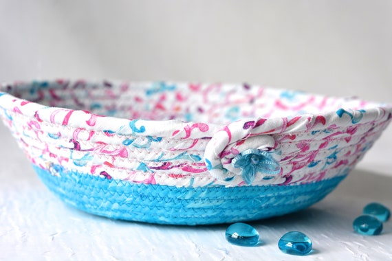 Modern Gift Basket, Spring Decoration, Quilted Artisan Bowl, Handmade Ring Dish Holder, Hand Coiled Fabric Basket, Aqua Floral Basket