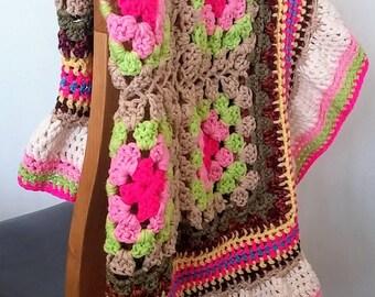 """SALE - Crochet blanket 38""""x38"""". Ideal for lap blanket, soft furnishings, house gift, nursery, cuddle blanket, pram blanket. Travel blanket."""