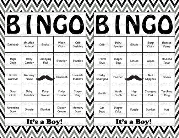 100 baby shower bingo cards mustache theme printable solutioingenieria Gallery