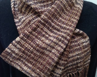 Handwoven scarf in Prairie rayon chenille