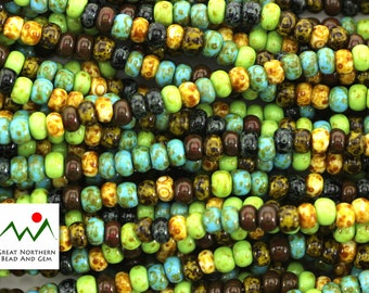 5/0-10IN Strand,Aged Mosaic Picasso Seed Bead Mix,Czech Seed Beads,Item #: SED090114