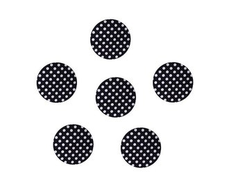Black dots x 6 fabric covered buttons, buttons black and white cotton, buttons size optional