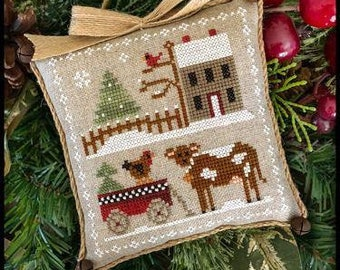 Coming Soon! LITTLE HOUSE NEEDLEWoRKS Farmhouse Christmas Dairy Darlin' #4 SaL counted cross stitch patterns Needle Nanny