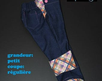 Scalable jeans size small, Cup regular pink, yellow, orange, blue and white Plaid