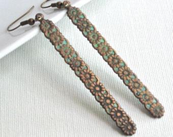Long Drop Earrings -  Flower, Verdigris Patina Earrings, Brass