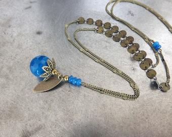 Long necklace, secret, blue, round agate gemstone.