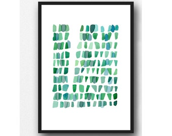 Emerald Green watercolor painting - Sea Glass Wall art - Watercolor print giclee  - Abstract painting