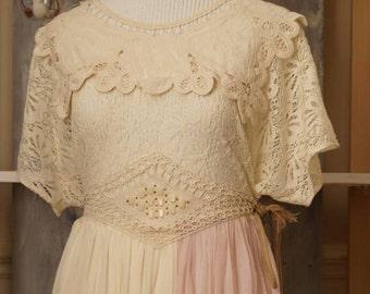 Boho bohemian lace dress - bridesmaid dresss -embroidered dress - beaded dress - short wedding dress - wedding dress - chiffon dress