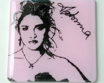 Madonna Singer Songwriter Actress Activist Fused Glass Coaster 1980s MTV Feminist