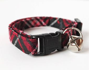 Fabric Cat Collar - Kitten Collar- Red and Black Lumberjack Plaid Cat Collar with Removable Bell-Breakaway Cat Collar