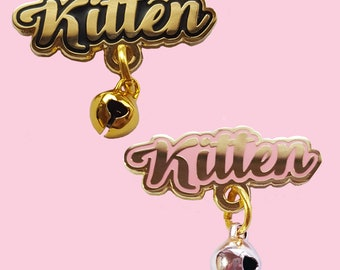Kitten Pin Real Working Bell - Hard Enamel - Cat Kitty Meow Pet Cute Kawaii 22k gold plated