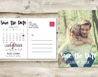 Calendar Save The Date Postcard, Postcard Save the Date, Wedding Save the Date Postcards, Wedding Invitation Postcards, Photo Save the Dates