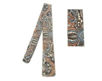 "50s Mens Skinny Tie - Square End Tie - 2 1/4"" - 2.25"" - Brown and Blue Batik - Made In England - Batiska Woven Cotton Batiks - Tie Dye Dyed"
