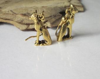 Egyptian Cat Earrings, Gold Egyptian Cat Goddess Bastet, Pewter Cat Charm