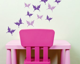 Butterfly wall sticker decals - set of 16 butterflies - removable vinyl rub on decals - butterfly wall decals for girl bedroom - butterflies