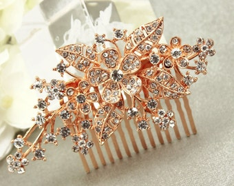 Rose Gold Comb Wedding hairpiece Pearl comb Rhinestone Bridal Comb Swarovski pearls Wedding Hair  accessories Wedding Comb bridesmaids comb