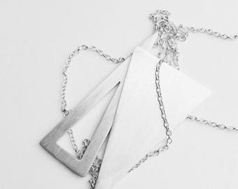 Double triangle long necklace