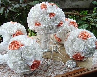 Peach ribbon Bouquet, white satin rose bouquet, pearls elegant, bouquet, wedding, fabric bouquet