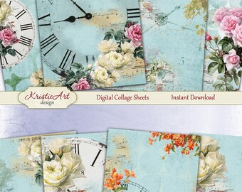 75% OFF SALE Time for roses - Digital Collage Sheet Digital Cards C154 Printable Download Image Tags Digital Image Atc ACEO Flowers cards