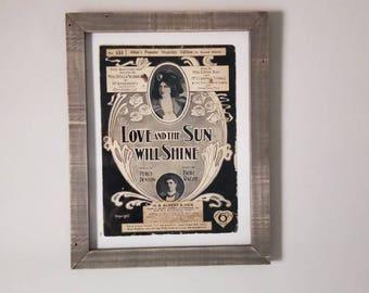 Framed Antique Music, Vintage Music Sheet, Music Decor, Art & Collectibles,