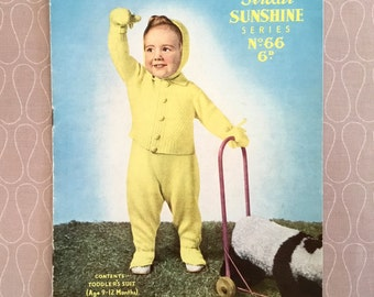 Vintage Knitting Pattern - Toddlers Suit 9-12months, Sirdar 'Sunshine Series' No: 66, c1950's, Harrap Bros. Ltd, Collectable