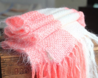 Handmade Handwoven Winter Oversized Scarf Shawl Wrap Wool White Flamingo Pink Mohair Wool Bouclé Warm Gentle Soft Galiano Weavers