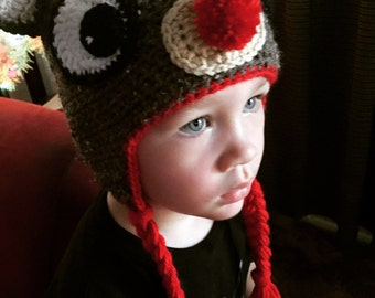 Handmade Crochet Rudolph the Red-nosed Reindeer Hat