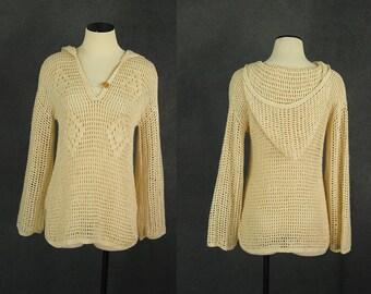 vintage 70s Hooded Sweater 1970s Crochet Sweater Open Knit Sweater Boho Slouchy Sweater Open Weave Sweater Sz S M L