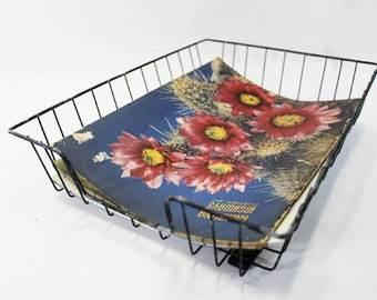 In Out Basket, Desk Accessory, Wire Basket, Office Decor, Vintage