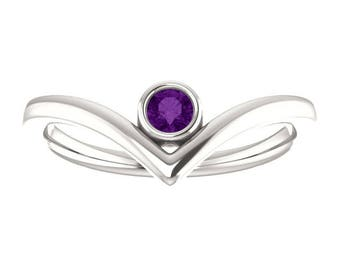 "Amethyst Birthstone ""V"" Ring, Stacking Gemstone Ring, Sterling Silver, 14K Gold"