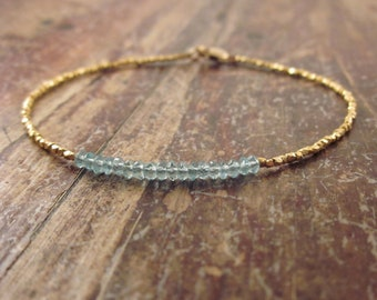 Blue Apatite Bracelet Jewelry Girlfriend Gift Womens Gold Vermeil Beaded Bracelet Gemstone Bracelet Womens Gold Bracelet Gifts for Her Wife