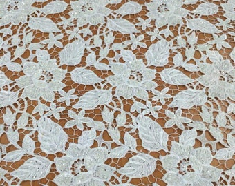 lace Fabric/Brussel Heavy Beaded Wedding Lace Fabric/Brussel Lace