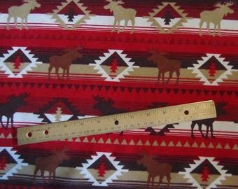 Red Moose Theme Flannel Fabric by the Yard