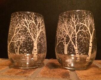 Set of 2 winter Aspen Tree stemless wine glasses