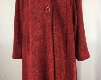 Vintage 1950s Red Boucle Coat M/L