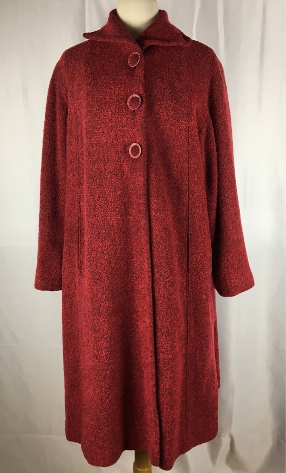 Vintage 1950s Red Boucle Coat M/L