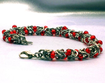 Byzantine Chainmaille Bracelet with Red Beads