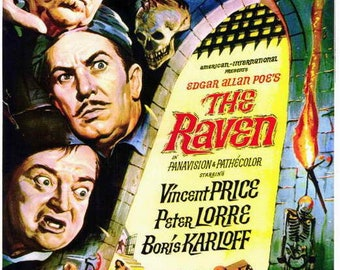 The Raven (1963) movie poster 11 x 17 Vincent Price Peter Lorre horror comedy Boris Karloff sorcery Hazel Court castle Jack Nicholson AIP
