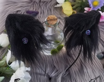 Black Embellished Wolf Ears - Wolf Ear Headband