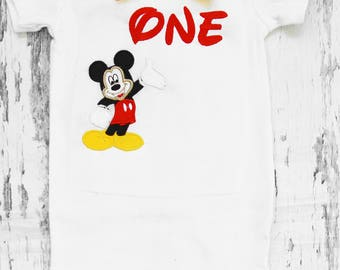 Baby first birthday Mickey One themed cake smash outfit boy Mickey Mouse 1st birthday one year bow tie onesie  boy birthday shirt