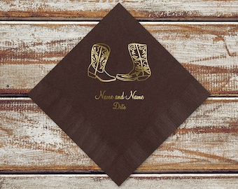 Country Wedding Cocktail Or Luncheon Napkins | Rustic Country Cowboy Boots Personalized Brown Color Beverage Or Luncheon Napkins