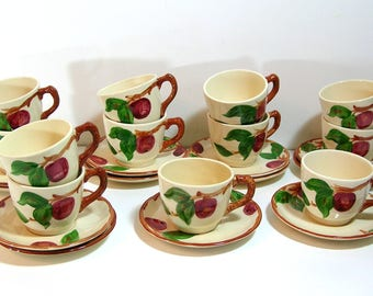 Franciscan Apple Cups And Saucers, Set Of Twelve