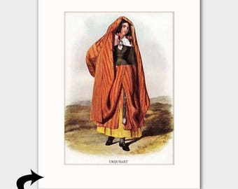 "Clan Urquhart Family Art Print w/Mat (Scottish Gift for Her, Cottage Decor ""Woman in Cloak"") --- Matted Scotland Art"