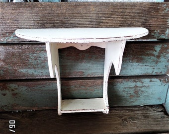 Vintage Farmhouse Shelf Shabby Chic Rustic Wood Folk Art Distressed Chippy Paint Antique White French Country Wall Display Shelving Shelves