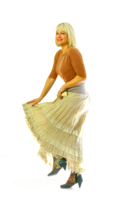 Skirt Woman pocket Ruffled orange Skirt skirt Sexy Layered Handmade Extravagant Beige beige S1289 cotton long skirt skirt Skirt beige OTInHt