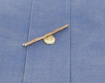 Vintage silver tone etched metal collar bar